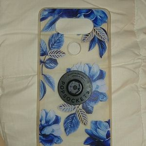 Lg v20 case blue and clear rose design